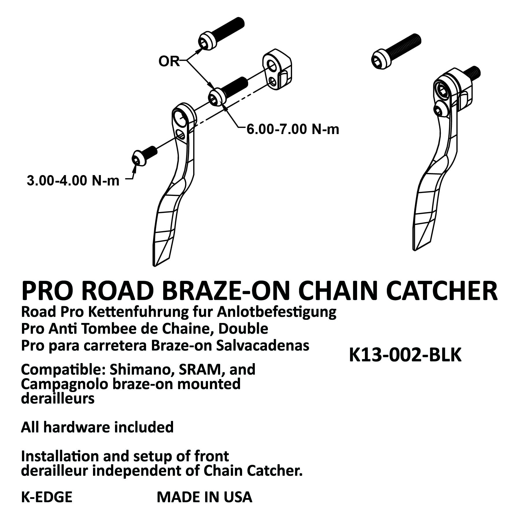 K-EDGE Pro Road Braze-on Chain Catcher Red