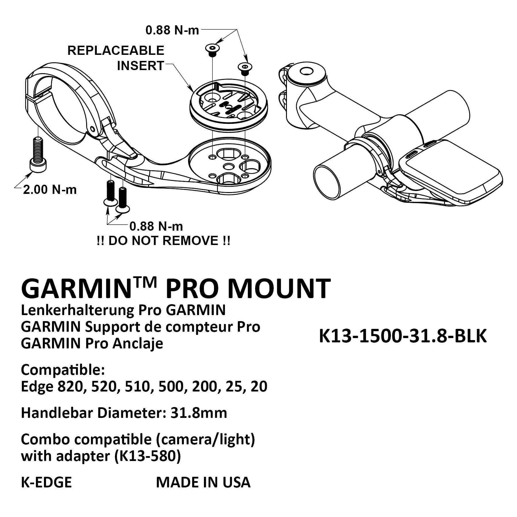 K Edge Pro Aero mount for Garmin Edge 20 820 red 520 25