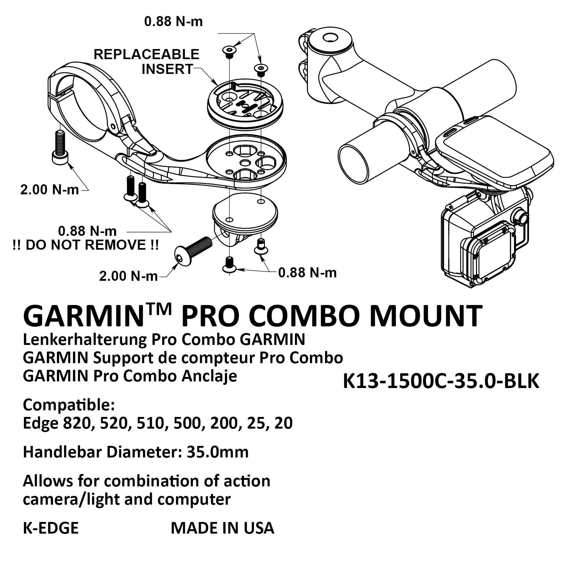 New 2019 K-Edge Combo Garmin Go Pro Camera Mount 31.8 Black K Edge