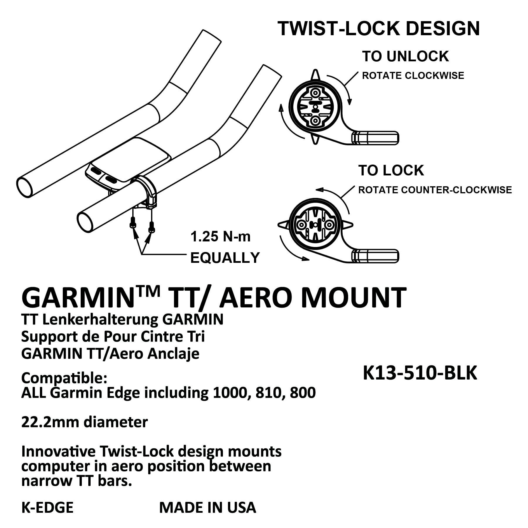 K-Edge TT Mount for Garmin Edge and Forerunner Mount 22.2 Black K Edge