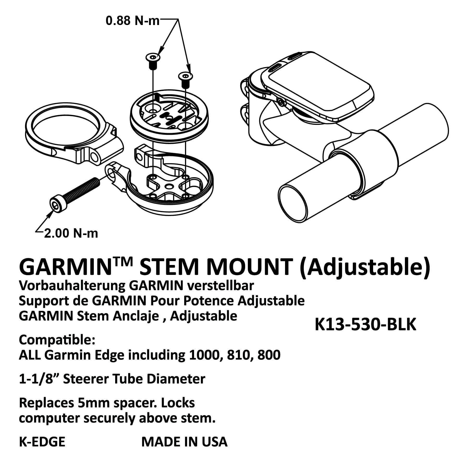 K-Edge Garmin Stem Mount Gun Metal Adjustable