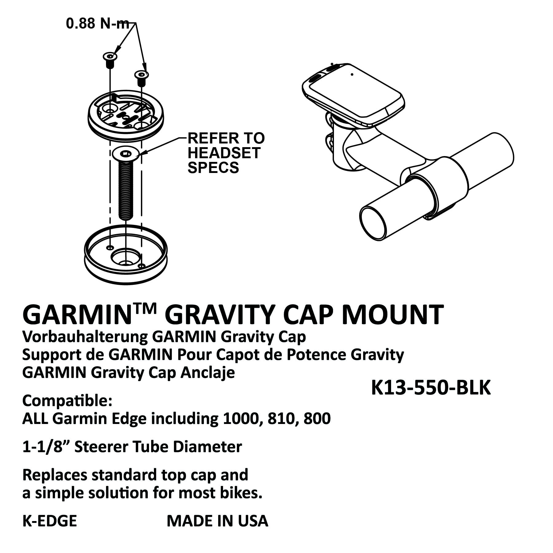 Red K-EDGE Gravity Stem Cap Mount for Garmin Quarter Turn Type Computers