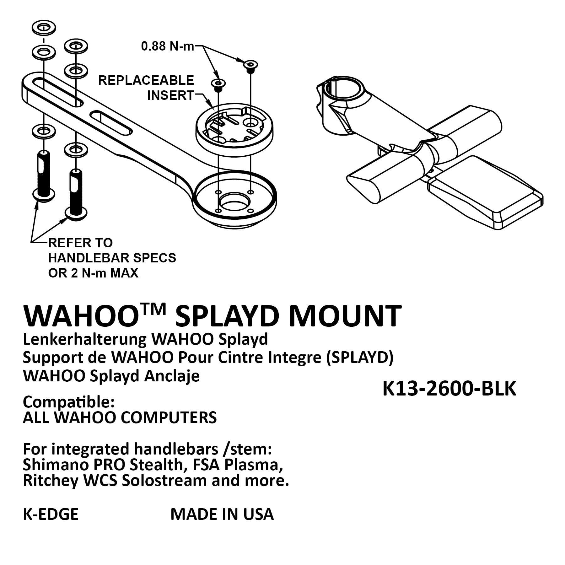 K-EDGE Wahoo ELEMNT Splayd Race Integrated Handlebar//Stem Mount Black