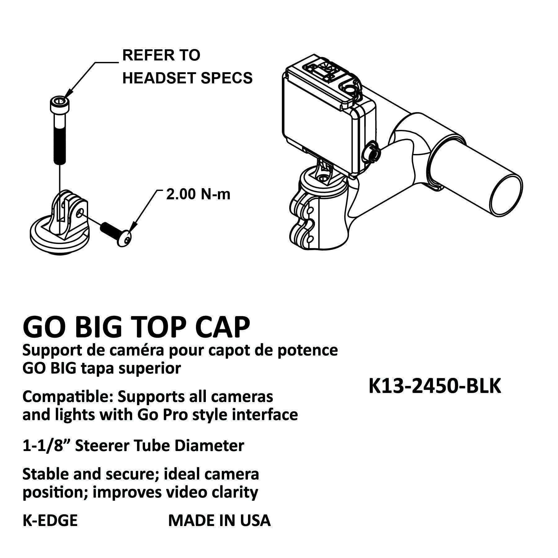 Black K-EDGE Go Big GoPro Top Cap Mount