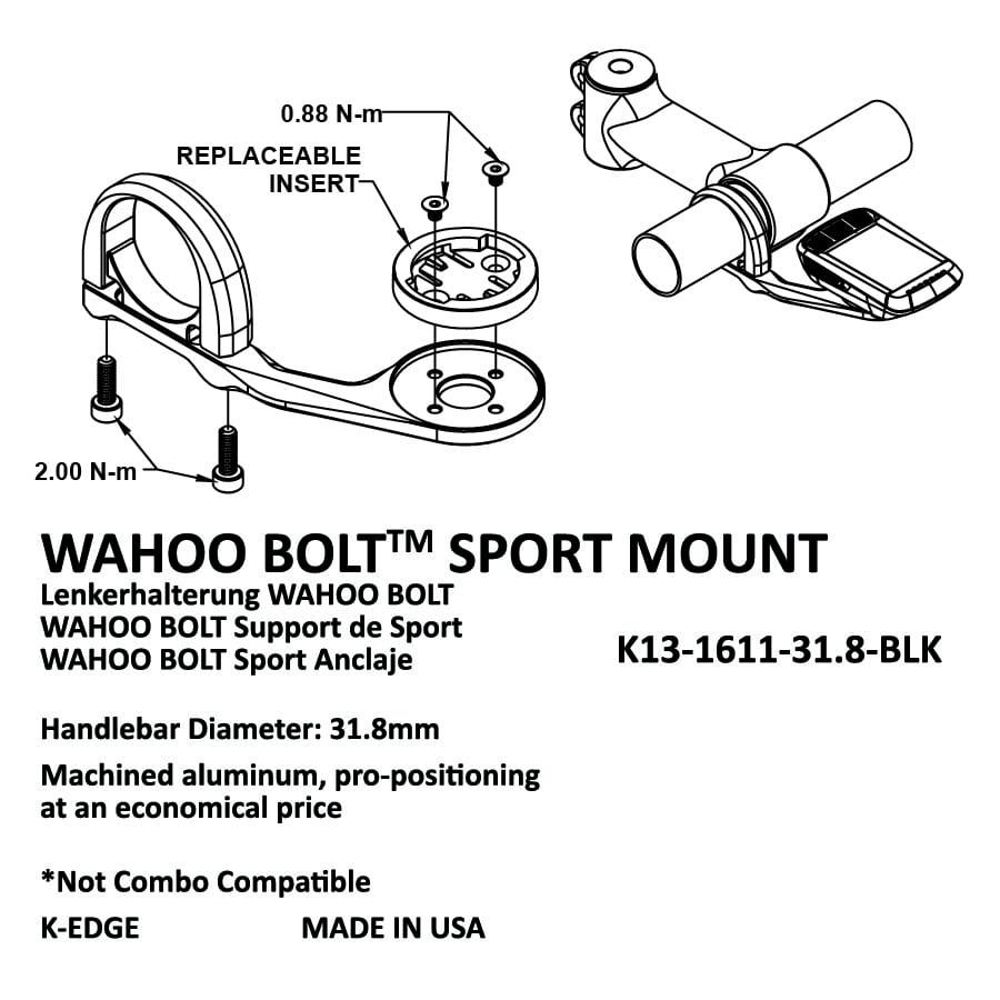 31.8mm K-EDGE Wahoo Bolt Sport Handlebar Mount Black