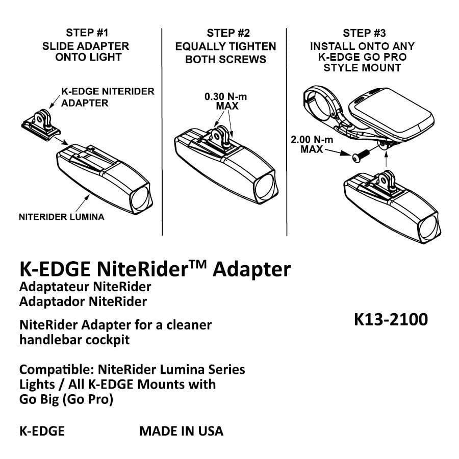 Lumina /& Mako Series K-Edge NiteRider Adapter