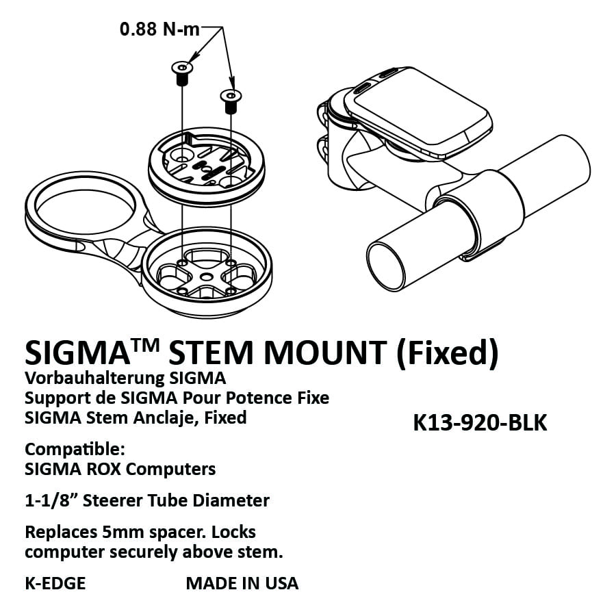 sigma fixed stem mount k edge Spacer Sleeve sigma fixed stem mount